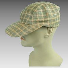 1950s Vintage Workwear Cap Plaid Mesh Mans Hat Sz 22 1/2