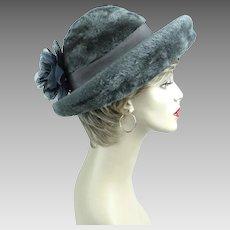 Vintage Hat Grey Faux Fur Breton by Mr Phil Sz 21