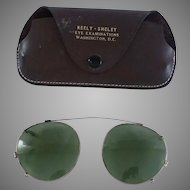 1940s Vintage Aviator Clip-On Sunglasses and Case