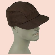 1950s Vintage Cap Mans Brown Twill Workwear Ball Cap Hat w/ Ear Flaps Sz 7