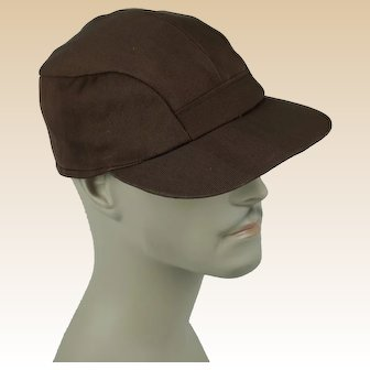 1950s Vintage Cap Mans Brown Twill Workwear Ball Cap Hat w/ Ear Flaps Sz 7