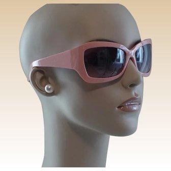 1990s Vintage Sunglasses Thick Pink Plastic