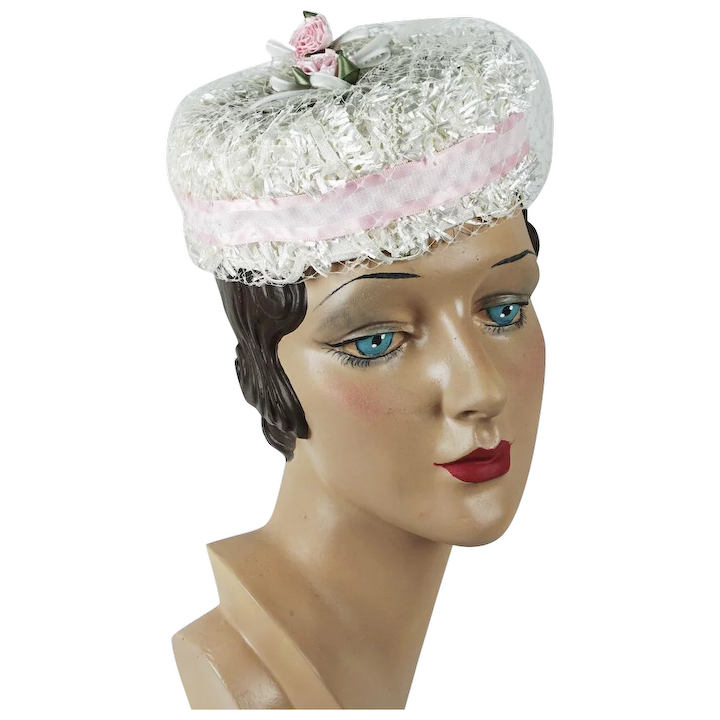 a16fa83878e15 Vintage Hat Small White Raffia and Pink Veiled Pillbox : Alley Cats Vintage  | Ruby Lane
