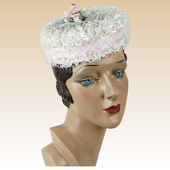 Vintage Hat Small White Raffia and Pink Veiled Pillbox