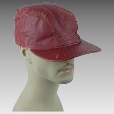 1950s Vintage Workwear Grunge Cap ~ Red Vinyl ~ Sz 7 1/4
