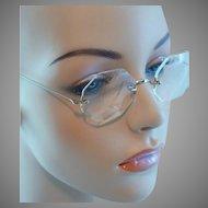 1940s Vintage Octagonal Rimless Eyeglasses by Shuron 14K