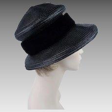 Vintage 60s Hat Black Straw High Crown - Floppy Brim Mushroom Style by Cannarozzi Sz 22