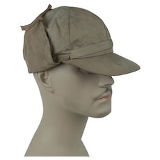 "1950s Vintage Cap Khaki Hunting - Sporting Cap w/ Tie Up Ear Flaps - ""Feature"" - Sz 7 1/8"