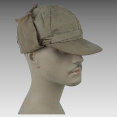 "1950s Vintage Cap Khaki Hunting - Sporting Cap w/ Tie Up Ear Flaps - ""Feature"" - Sz 7 1/8"