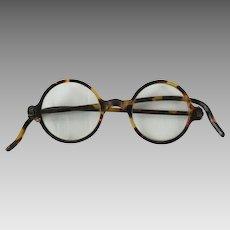 1930s Vintage Eyeglasses - Celluloid Faux Tortoise - Round Prescription Glasses
