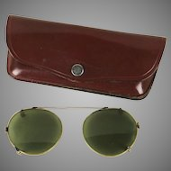 Vintage 1960s Clip-On Aviator Sunglasses w/ Leather Case