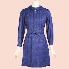 1960s Vintage Dress Blue Denim Mini by Hartsville Sz S  B36 W26