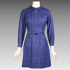 1960s Vintage Dress Blue Denim Mini by Hartsville Sz S  B36 W26