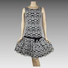 1950s Vintage Party Dress Black and White Lace Drop Waist B36 W27