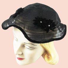 1950s Vintage Hat Sheer Horsehair Style Net w/ Velvet Covered Edges