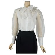 1970s Vintage Blouse White Sheer w/ Bow and Sheer Puffy Sleeves by Notations Sz 8