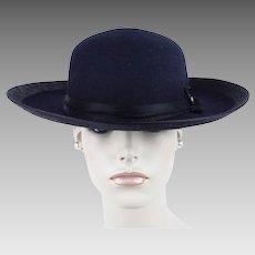 Vintage Hat - Peruvian Ladies Riding Hat - Arregui Extra - Navy Blue Wide Brim Sz 21 1/2