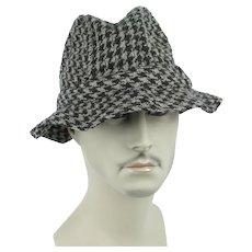 Vintage Hat - Millars Clifden Connemara Irish Virgin Wool Woven Houndstooth Bucket Hat Sz 7 1/4