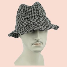 Vintage Hat - Millars Clifden Connemara Irish Virgin Wool Woven Houndstooth Bucket Hat Sz 7 1/4