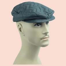 1950s Mans Gray Quilted Nylon Flat Cap Snap Brim w/ Ear Flaps Sz 7 NOS