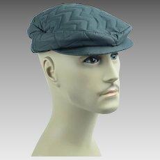 1950s Mans Gray Quilted Nylon Flat Cap Snap Brim w/ Ear Flaps Sz 7 NOS