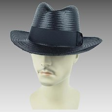 Vintage Hat Black Seagrass Straw Fedora by Kangol Sz M 22