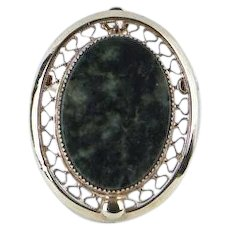 1970s Vintage Oval Jade Large Brooch / Pendant Sarah Coventry
