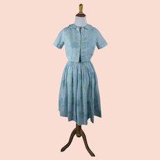 1960s Vintage Dress Pale Blue Floral Cotton Sundress with Bolero - Full Skirt - Jeanne D'Arc Sz XS B35 W24