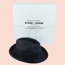 Vintage Fedora Black Flexible Straw - Stark & Legum with Original Hat Box Sz 7 1/4