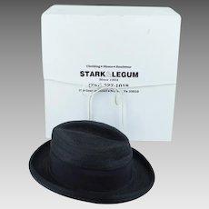 Vintage Fedora Black Flexible Straw - Stark & Legum with Original Hat Box Sz 7 1/4