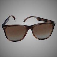 1980s Vintage Sunglasses - Oversized Non-Prescription Faux Tortoise - Made in France