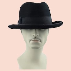 1960s Vintage Wormser Homburg - Black Beaver Royal Luxury Sz 7 3/8 w/ Original Hat Box