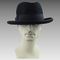 1960s Vintage Wormser Homburg - Black Beaver Royal Luxury Sz 7 3/8 w/ Original Hat Box