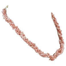 Angel Skin Coral 3 Strand 22 Inch Necklace