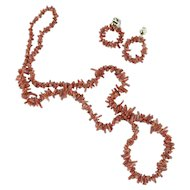 Vintage Red Coral Necklace and Earrings - Spiney or Branch Coral