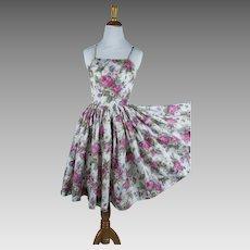 1950s Vintage Dress ~ Pink Rose and White Taffeta Full Skirt Party Dress ~ Spagetti Straps ~ Sz XS