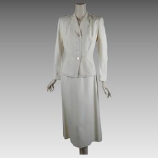1940s - 1950s Vintage Suit ~ White Shirt and Jacket ~ Weathervane Tailored by Handmacher B36 W26