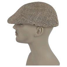 4ea2c131bd1 Alley Cats Vintage.  38 USD. Vintage Mans Hat Straw Flat Cap Sz M
