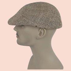 Vintage Mans Hat Straw Flat Cap Sz M