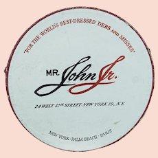 Vintage Hat Box - Mr John Jr Logo Hatbox - White w/ Red Cord