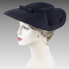 1950s Vintage Hat Black Linen Wide Brim - Mushroom Style