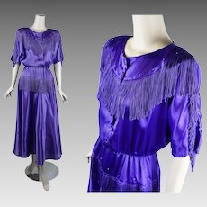 Vintage 1990s Western Dress Bright Violet Southwestern Fringed Full Skirt by Lilia Smith Sz 11/12 B36