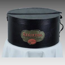 Vintage Hat Box - Man's Resistol Self Conforming Hatbox - Black Papered w/ Vinyl Strap and Handle