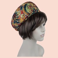 1960s Vintage Hat Paisley Multi-Colored Nubby Pillbox by Patrice