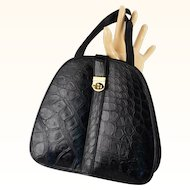Vintage 1950s Handbag Black Faux Embossed Alligator Oval Handled Purse