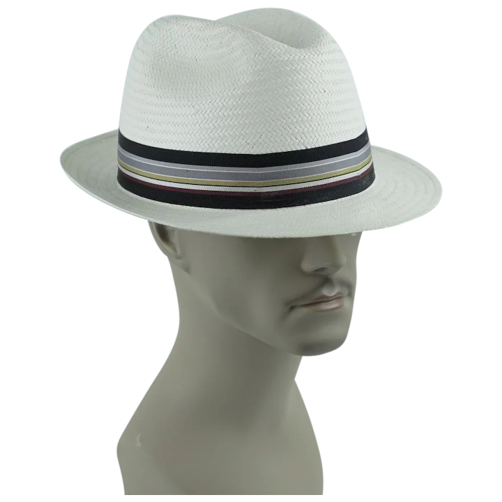2d4d470d6393 Vintage Classic White Straw Fedora by Park Royal ~ Made in the USA ~ :  Alley Cats Vintage | Ruby Lane
