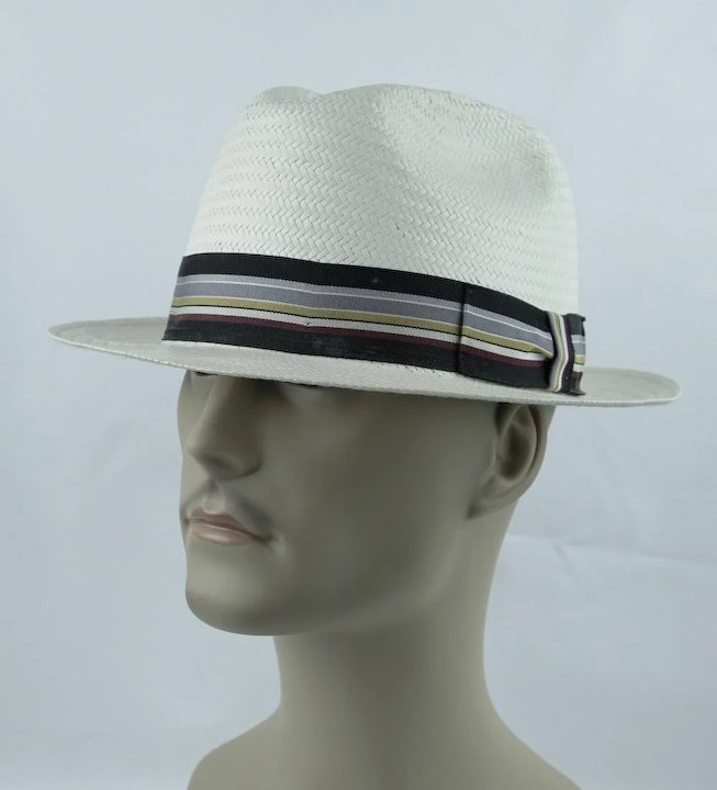 dfa6b68a5 Vintage Classic White Straw Fedora by Park Royal ~ Made in the USA ~ Sz 7  3/8
