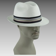 Vintage Classic White Straw Fedora by Park Royal ~ Made in the USA ~ Sz 7 3/8