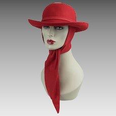 Vintage Hat Bright Red Felt Scarf Ladies Fedora Sz 22