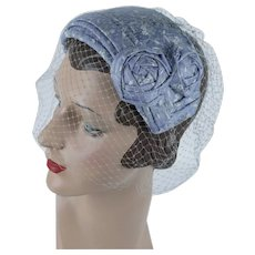 d1e555bc8a9 1950s Vintage Hat Blue and White Veiled Clip Hat by Helen Marie. Alley Cats  Vintage